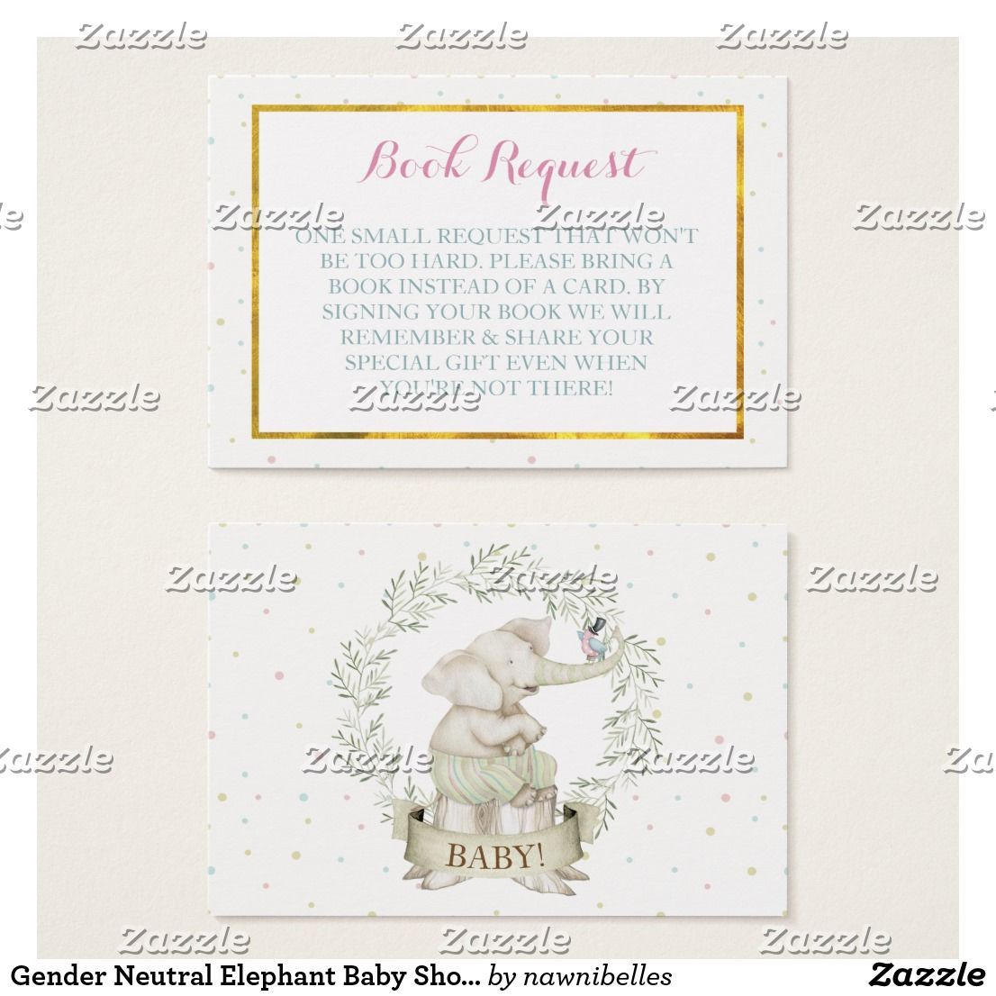 Gender neutral elephant baby shower book request business card gender neutral elephant baby shower book request business card elephant sitting on a tree trunk with reheart Gallery