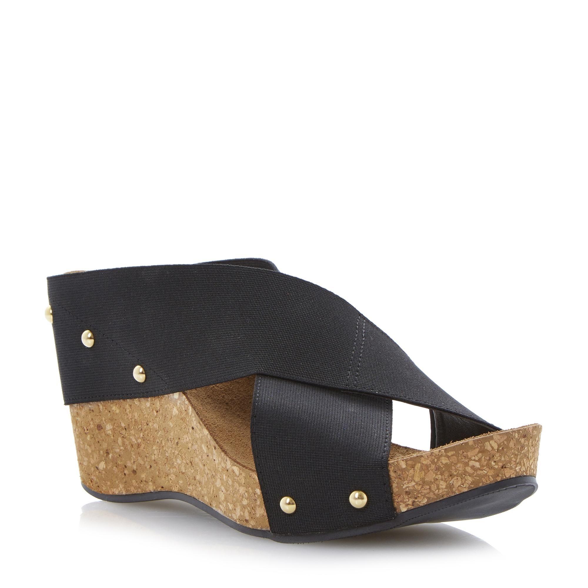 Black sandals dune - Dune Ladies Gladley Elasticated Crossover Strap Wedge Sandal Black Dune Shoes Online