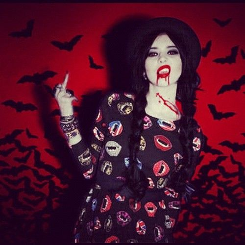 Hanna Bethwearing the BITE ME! dress, lookin like she just rose from the dead! We love it!!!  Iron Fist Clothing  IF Ladies  ironfistclothing.com