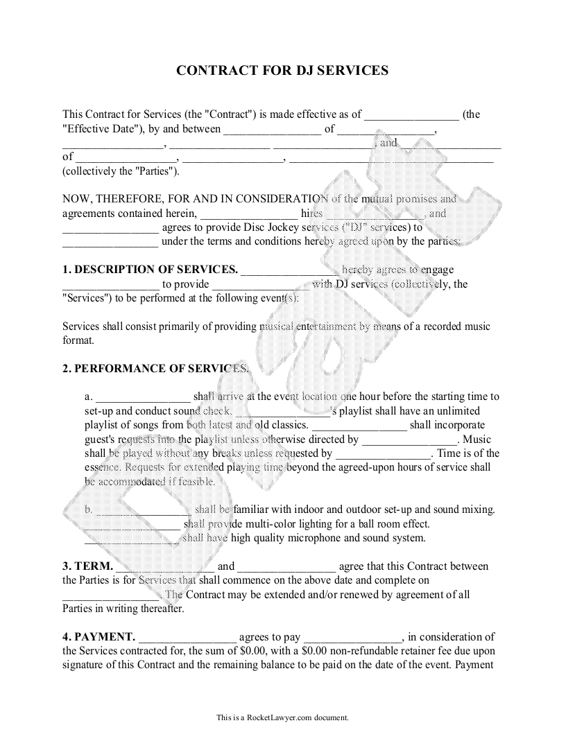 DJ Contract Template   DJ Agreement With Sample   D J Contracts  Printable Contracts