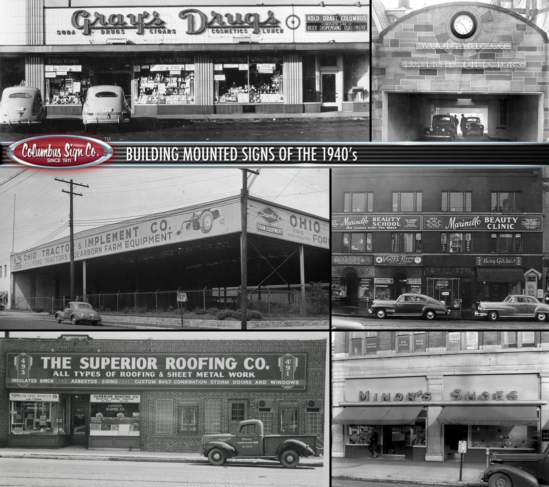 Columbus Sign Co 1940s Building Signs Building Signs Building Sheet Metal Work