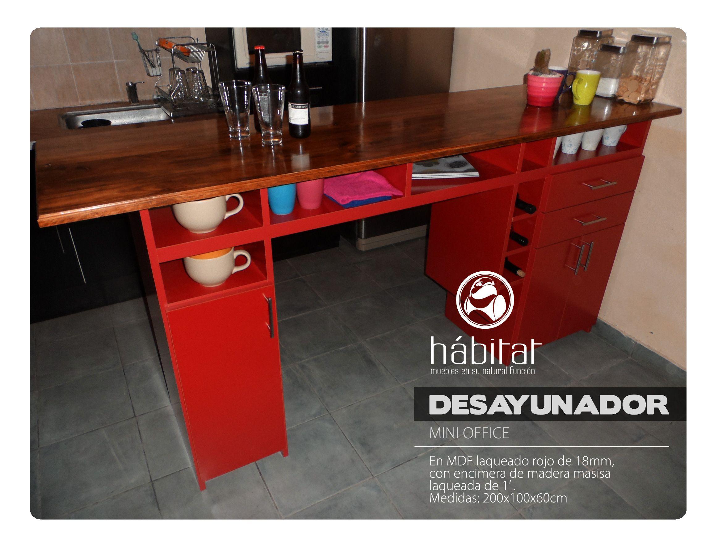 Desayunador En Mdf Laqueado Rojo De 18mm Con Encimera De Madera  # Define Muebles Y Enseres