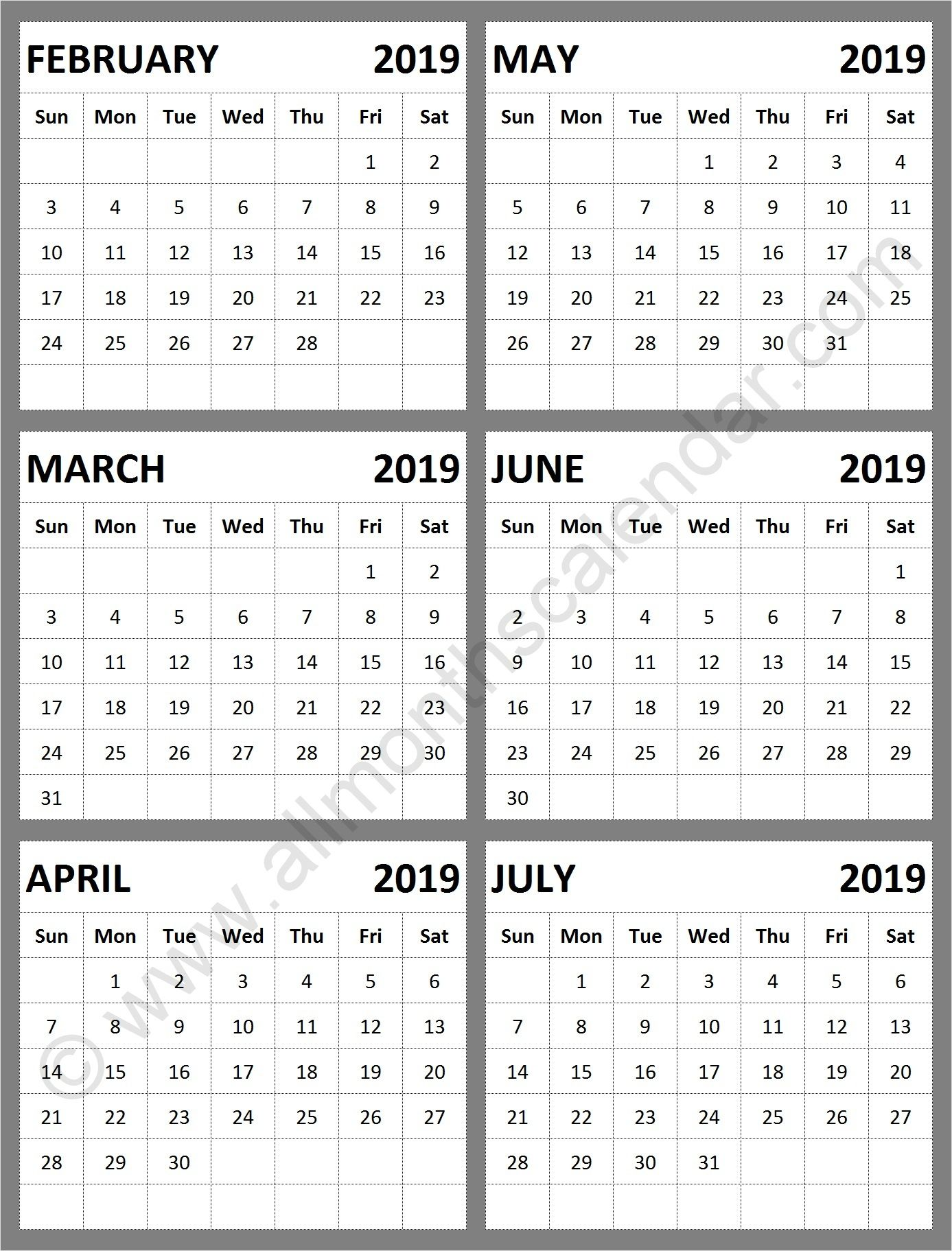 February March April May June July 2019 Calendar Template