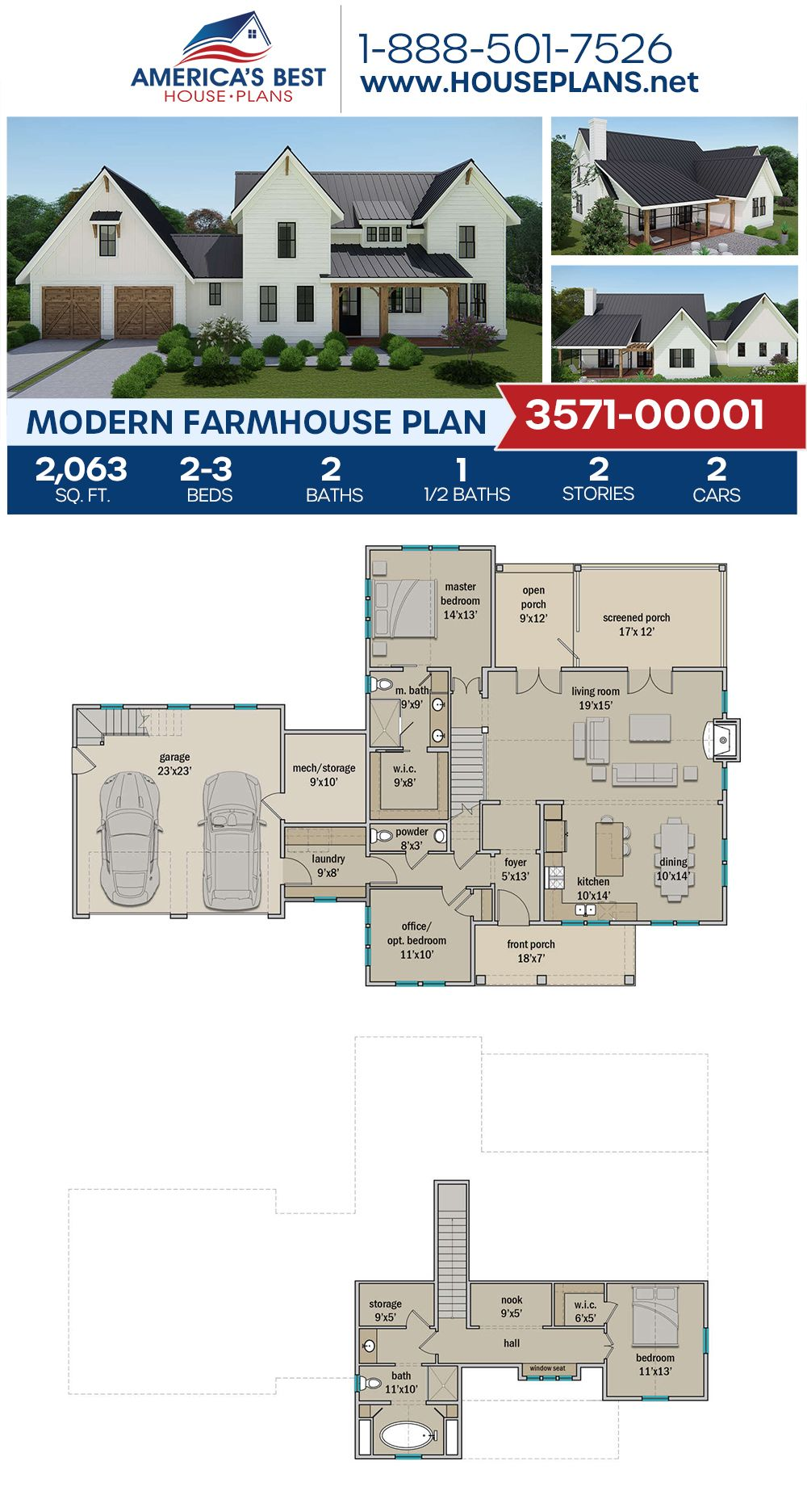 House Plan 3571 00001 Modern Farmhouse Plan 2 063 Square Feet 2 3 Bedrooms 2 5 Bathrooms House Plans Farmhouse Modern Farmhouse Plans Farmhouse Plans