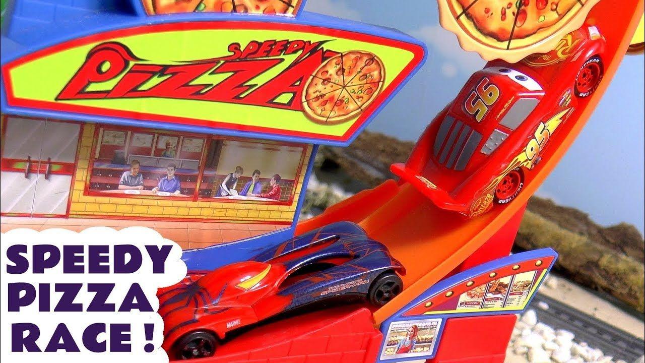 Cars Lightning Mcqueen Races Hot Wheels Superhero Cars On The Speedy Piz Disney Pixar Cars Pixar Cars Hot Wheels