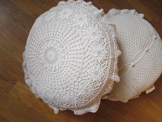 Shabby Chic 100 % Hand Baumwolle gehäkelt Elfenbeinweiß Runde Kissen Shams, Kissen-Fällen