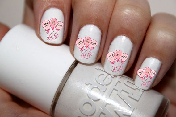 50pc Baby Shower Its A Girl Baby Girl Nail Decals by NailCountry, $3.99