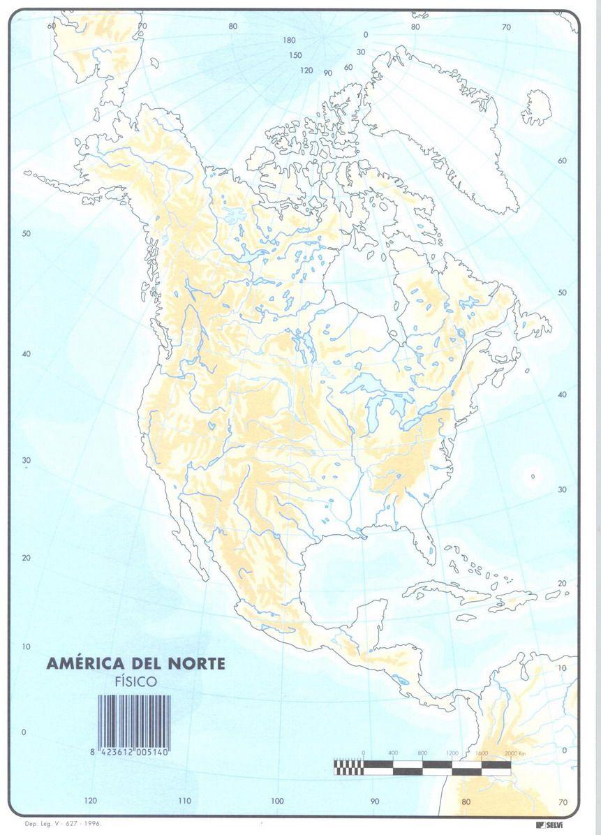 Resultado de imagen de mapa america norte mudo fisico | Idioma ...