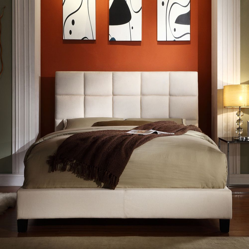 ETHAN HOME Sarajevo Beige Fabric Column King-size Bed | Overstock.com