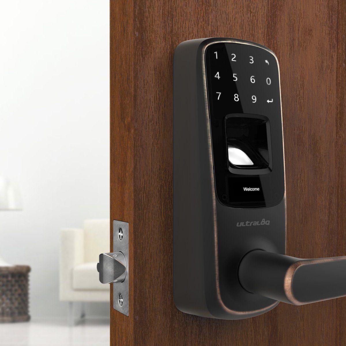Ultraloq Ul3 Fingerprint And Touchscreen Keyless Smart Lever Door Lock Aged Bronze Visit The Image Link Fingerprint Door Lock Smart Door Locks Door Locks