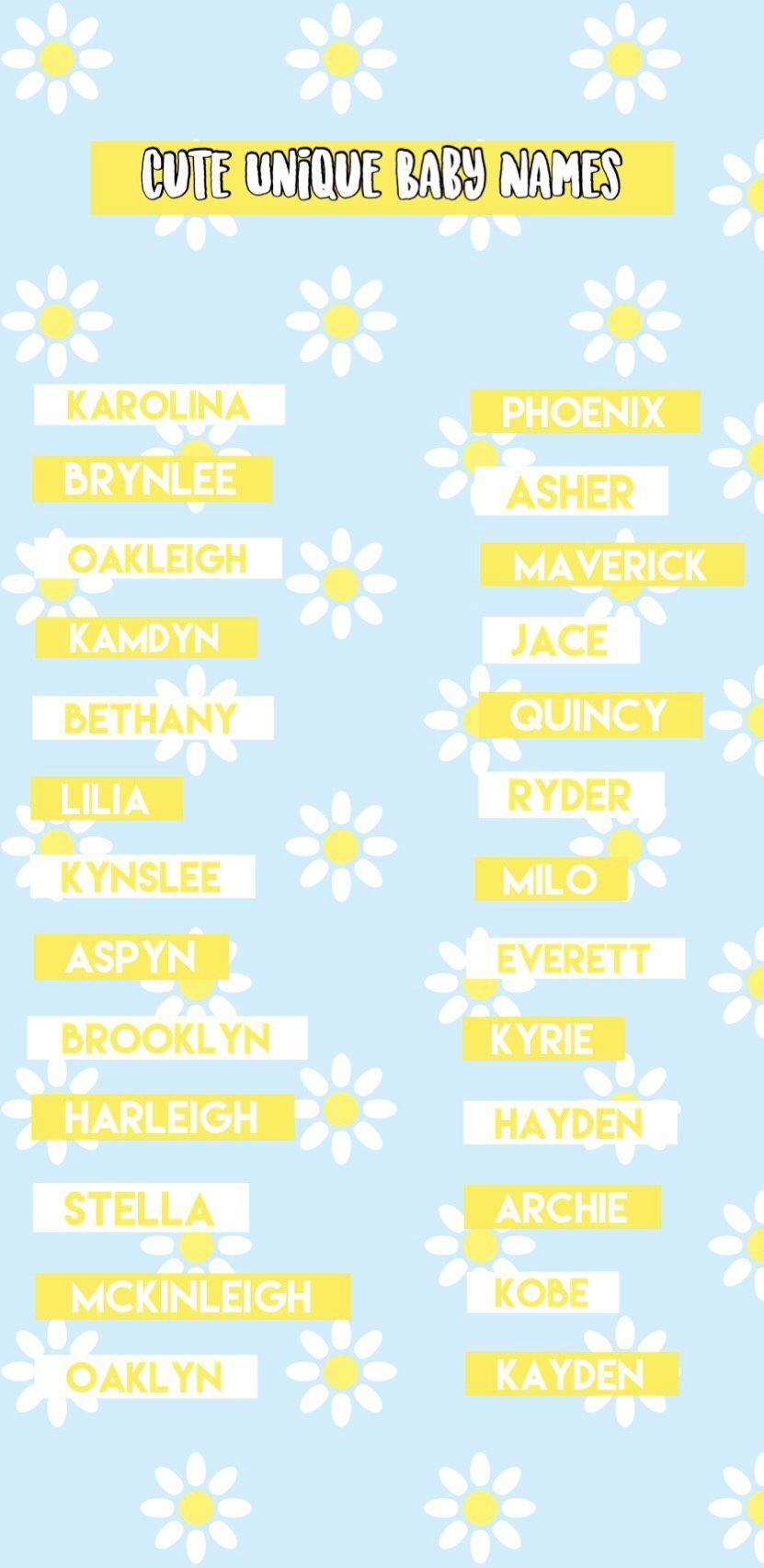 Cute Unique Baby Names 2020 in 2020 Cute unique baby