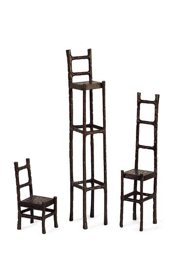 So, it seems I'm obsessed with chairs. Here are some chair sculptures (I can actually afford all three chairs). I wouldn't know where to put them, but I like them.