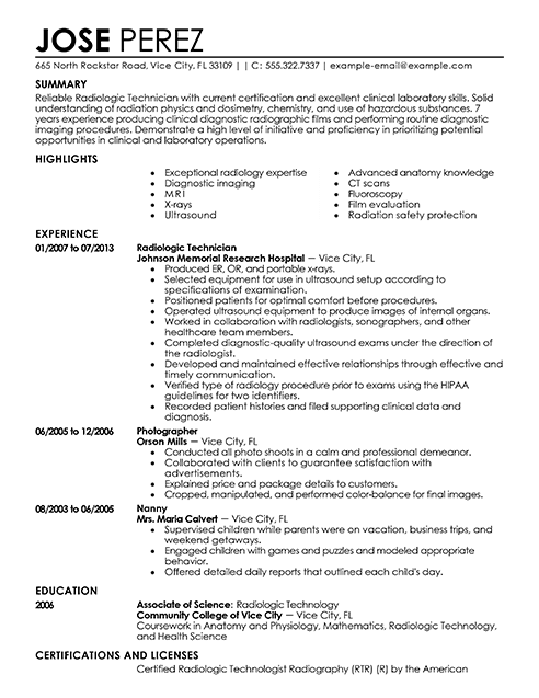 X Ray 4 Resume Examples Resume Format Student Resume