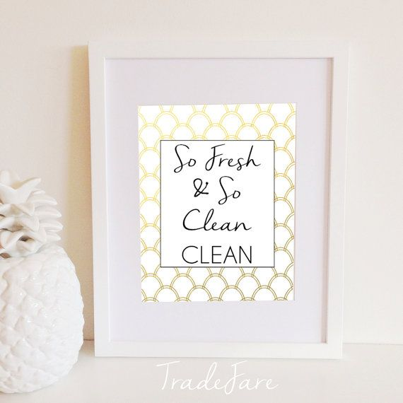 So Fresh And So Clean Print Laundry Room Decor Instant Download Handwriting White Gold 8x10 Gallery Wa Laundry Room Decor Laundry Room Wall Decor Decor