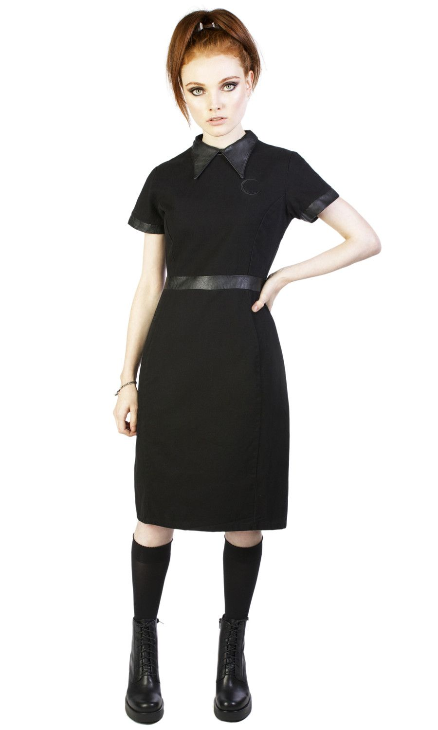 """100% cotton twill short sleeve dress with false leather collar and back yoke. Front chest crescent moon embroidery. Back zip fastening. Form-fitting so you may need to order a size up from your usual dress size. Model is 5' 6"""" and is wearing a size S TAG YOUR PURCHASE: #disturbiaclothing IN STOCK & SHIPS WITHIN 24 HOURS"""