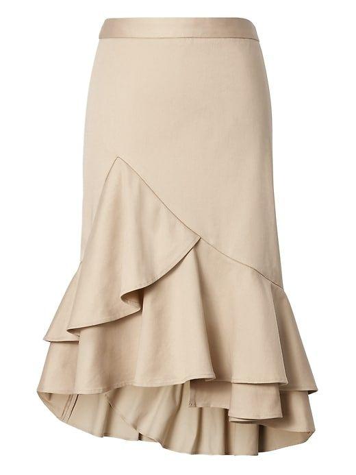 cc75b6a67 Banana Republic Womens Asymmetric Ruffle-Hem Skirt Golden Beige ...
