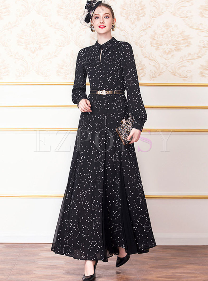 Vintage Lapel Chiffon Splicing High Waist Maxi Dress High Waist Maxi Dress Maxi Dress Maxi Dress Sale