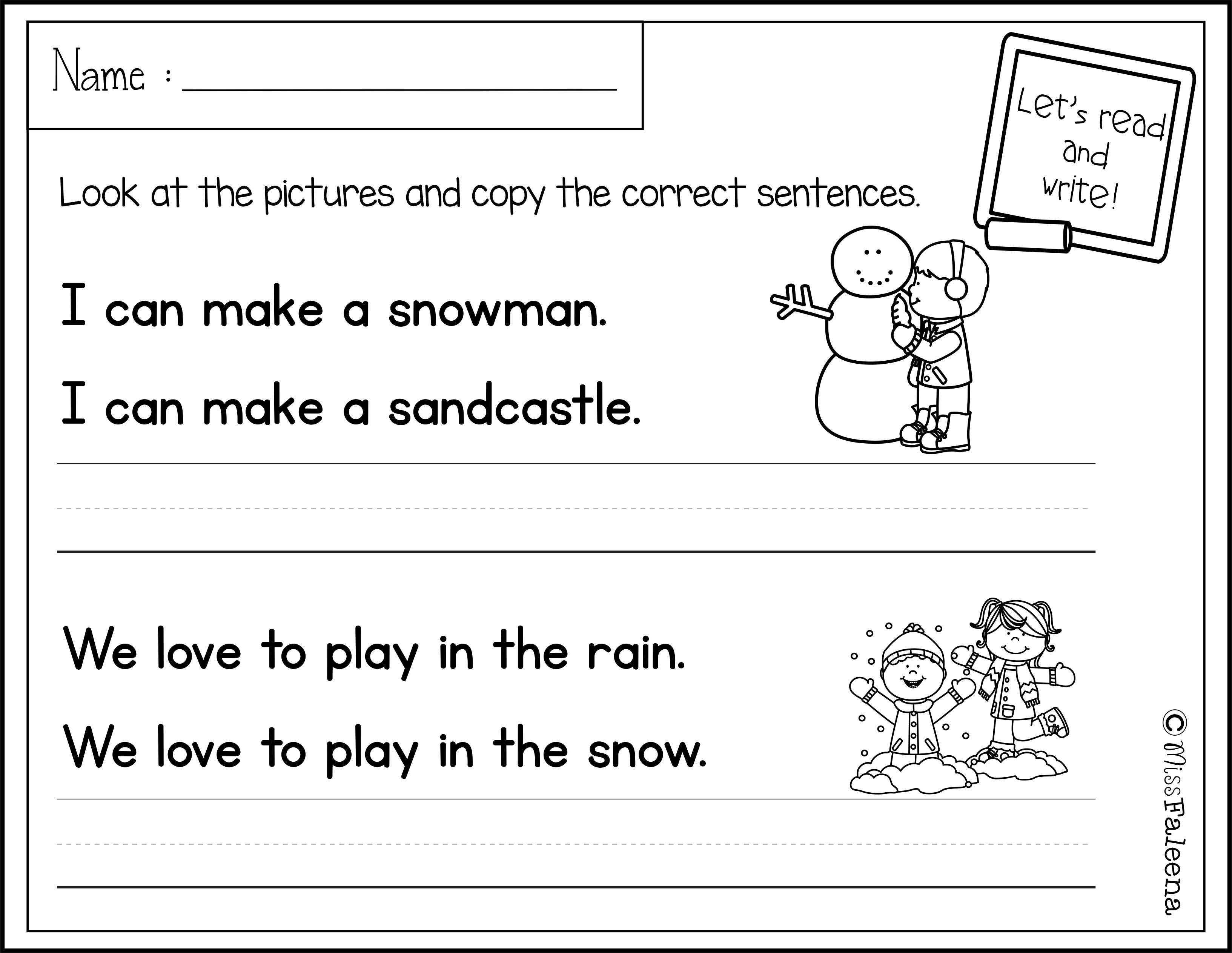 December Sentence Writing With Images