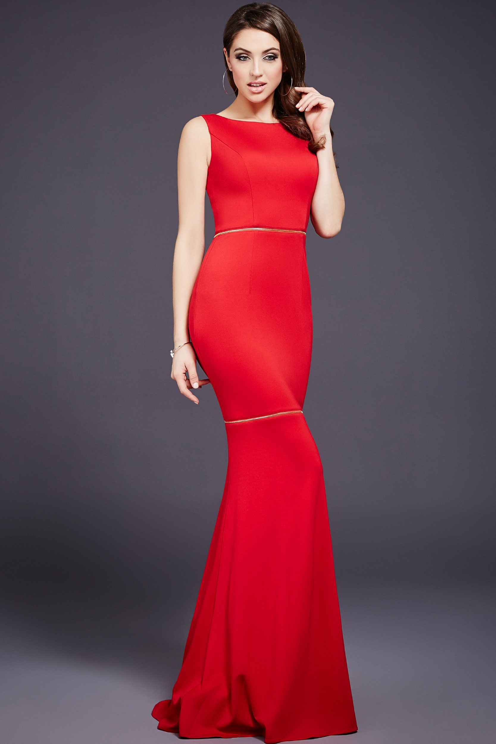 Red Sleeveless Fitted Prom Dress 36599 | fancy | Pinterest