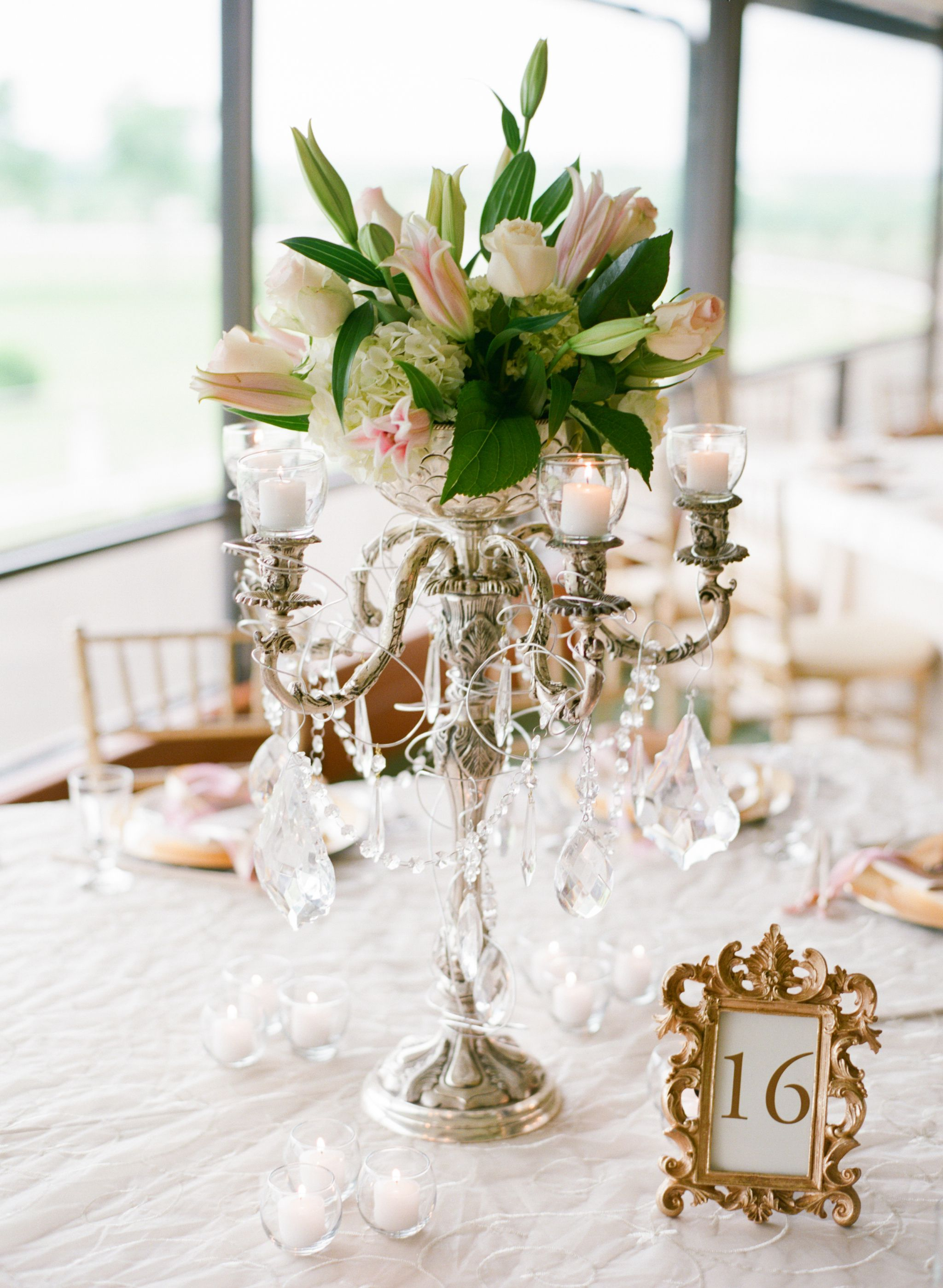 Tall Blush Pink And White Hydrangea Lily Rose Wedding Reception Flowers With Candles