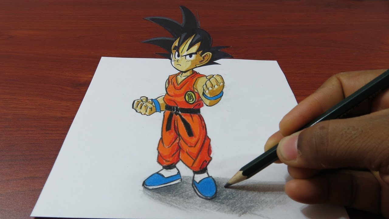 How To Draw 3d Goku Easy Dragon Ball 3d Drawings Easy Drawings Drawing Videos For Kids