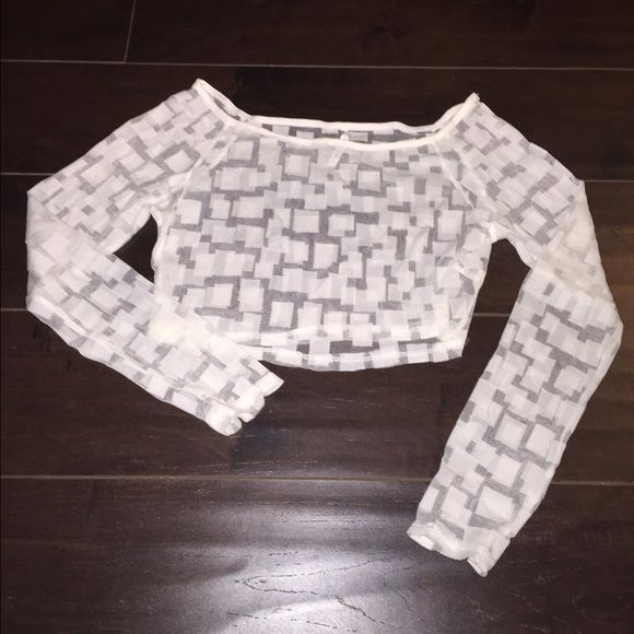 BOGO White Sheer Box Print Long Sleeved Crop Top  White Sheer Box Print Long Sleeved Crop Top. Brand new without tags. No trades. Tops Crop Tops