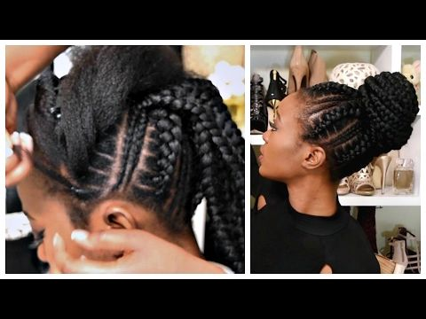 Feed In Stitch Braids Bun With Pre Stretched Hair Very Affordable Video Feed In Braid French Braid Hairstyles Hair Styles
