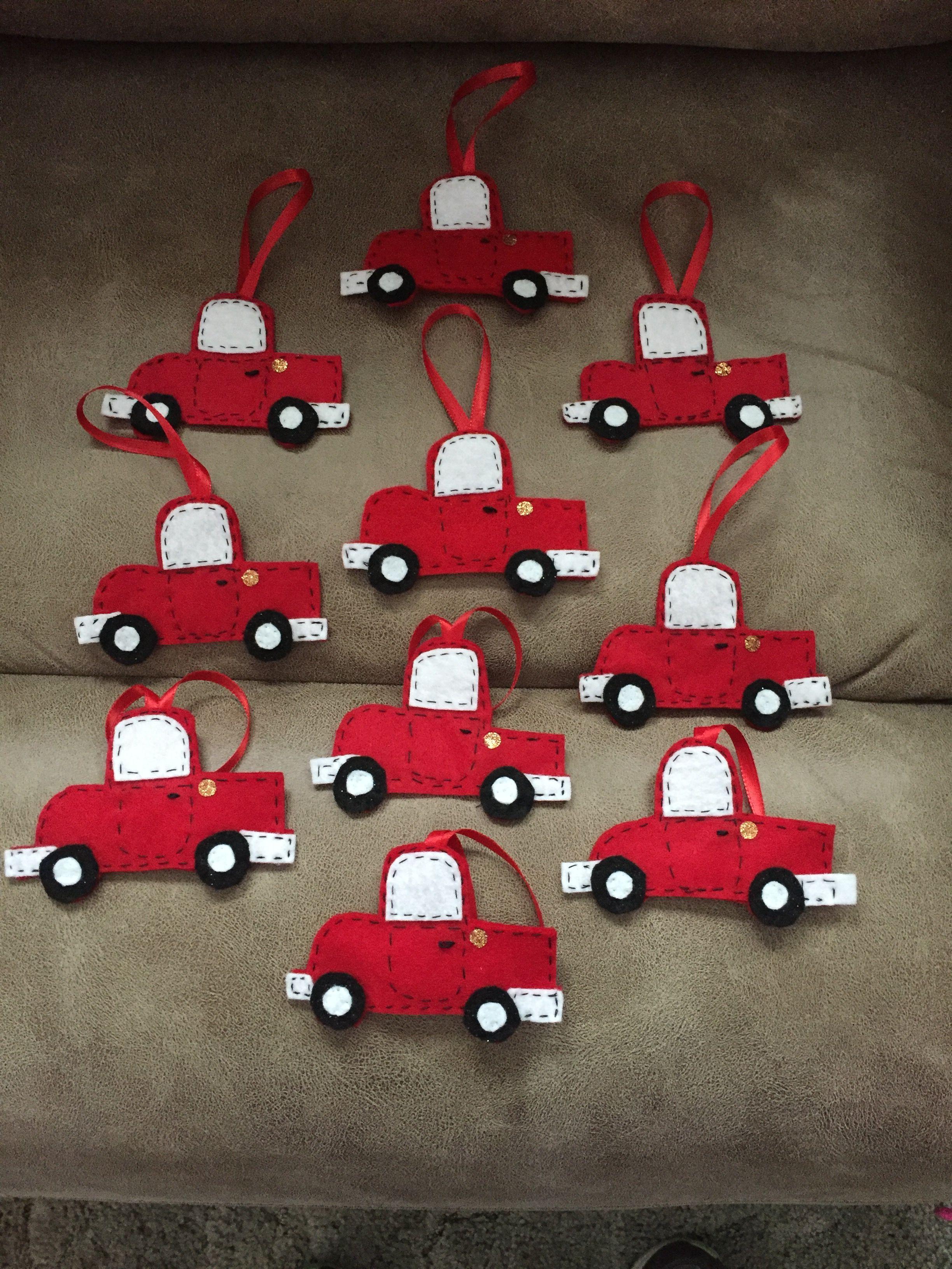 Little Red Truck Ornament Felt Christmas Ornaments Felt Ornaments Diy Blue Christmas Ornaments