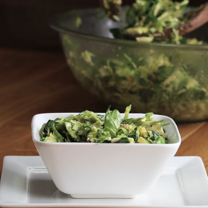 Bacon Avocado Brussels Sprout Salad With Lemon Vin