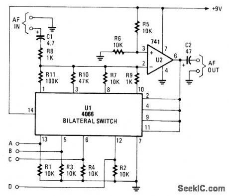 gain controlled op amp amplifier circuit circuit diagram rh pinterest com
