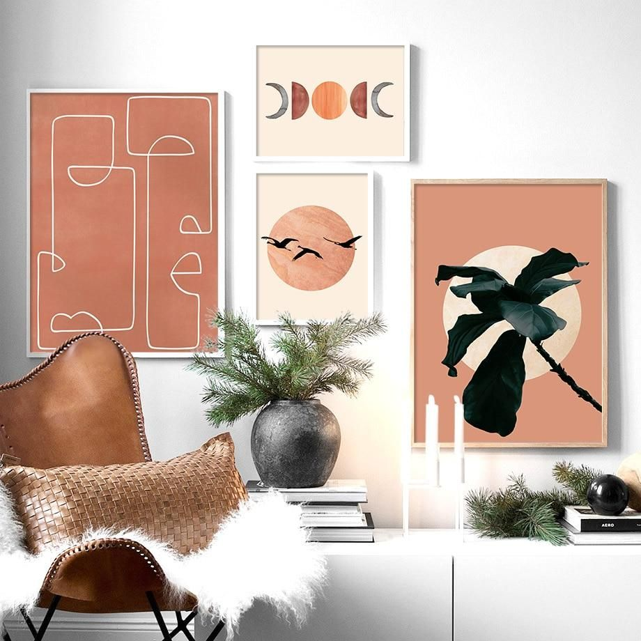 Eclectic Peach Illustrated Gallery Wall Art Prints