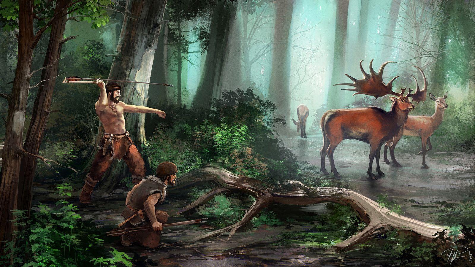 Depiction Of A Megaloceros Hunt In Upper Paleolithic
