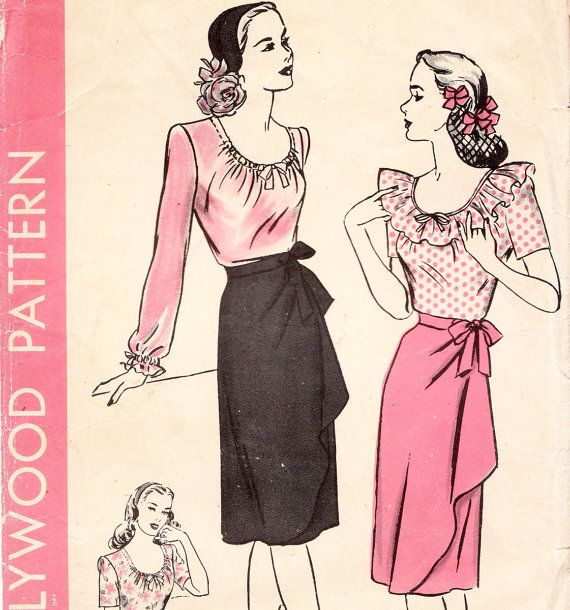 Vintage 1940s wrap skirt and blouse sewing pattern - Hollywood 1356 - bust 34