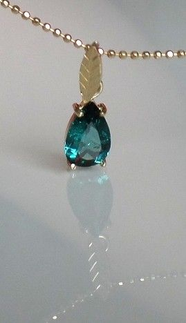 Gold Pendant - Indicolite Tourmaline Pear - YAUP10 via Gems' Investors. Click on the image to see more!