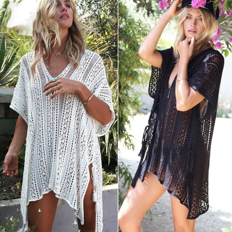 Women Summer Crochet Bikini Cover Up Swimwear Bathing Suit Beach Mini Dress Tops