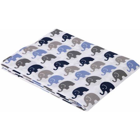 Bacati Mini Elephants Fitted Crib Sheet 100% Cotton Percale, Available in Multiple Colors, Multicolor