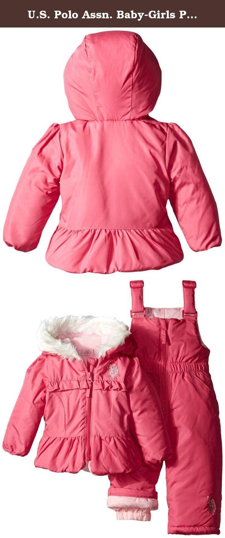 8e07610af U.S. Polo Assn. Baby-Girls Puffer Snowsuit, Pink Moon, 18 Months. Peplum  puffer jacket and bib pants.