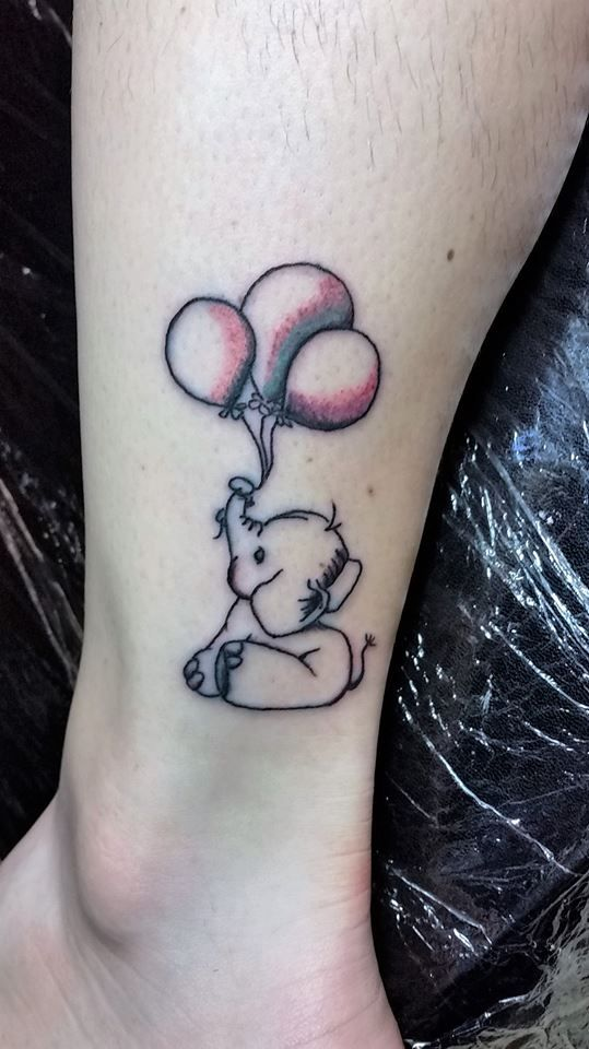 Washedcolor Balloons Elephant 3 Almostcolor Tattoo Studio13tattoomg Balloon Tattoo Elephant Tattoos Simple Elephant Tattoo