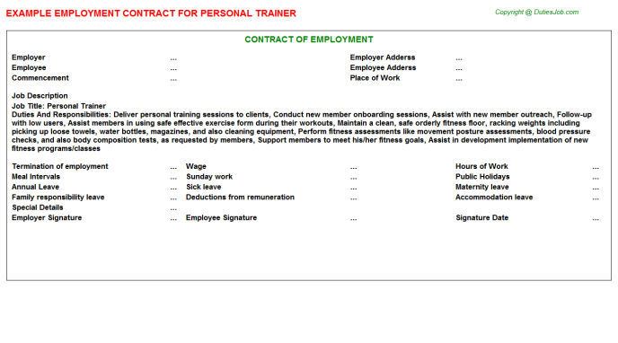 Searching For Personal Trainer Employment Contract Sample Word