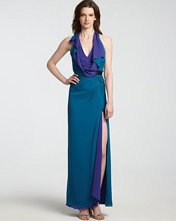 2d014b5f9be HALSTON HERITAGE Halter Gown - Color Block