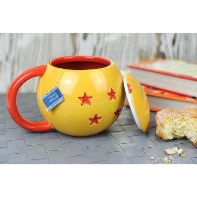 Dragon Ball Z 4-Star Dragon Ball Ceramic Mug With Lid, Yellow
