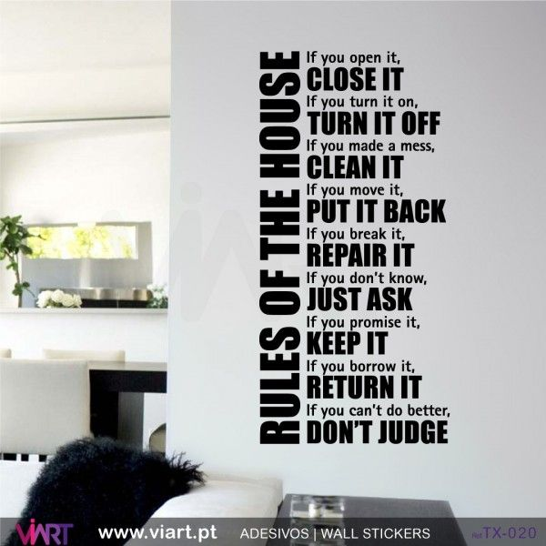 Rules Of The House Wall Sticker Dinner Table Rules Pinterest - House wall decals