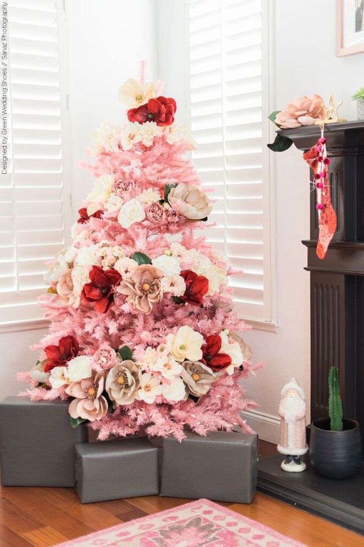 How to Make Your Own Pink Floral Christmas Tree | Christmas tree ...