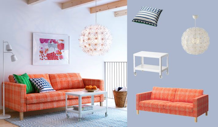 KARLSTAD three-seat sofa with Husie orange cover and IKEA PS 2012 white coffee table on castors