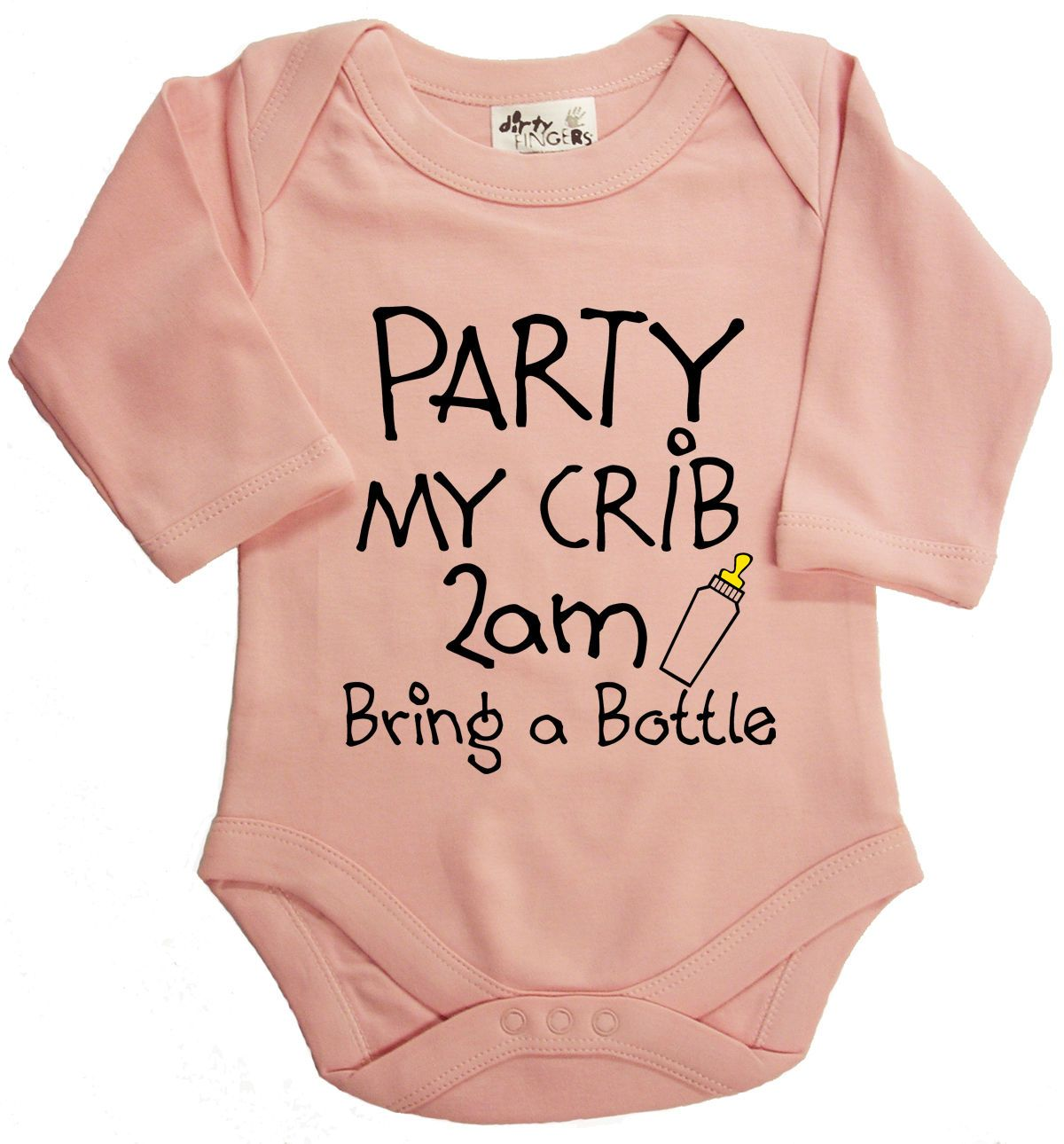 "Baby Bodysuit /""Party My Crib 2am bring a Bottle/"" Babygrow Vest Funny Gift"