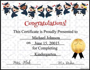 recognize your preschool kindergarten and elementary school graduates with this fun certificate adding text to your certificates on your pc is easy