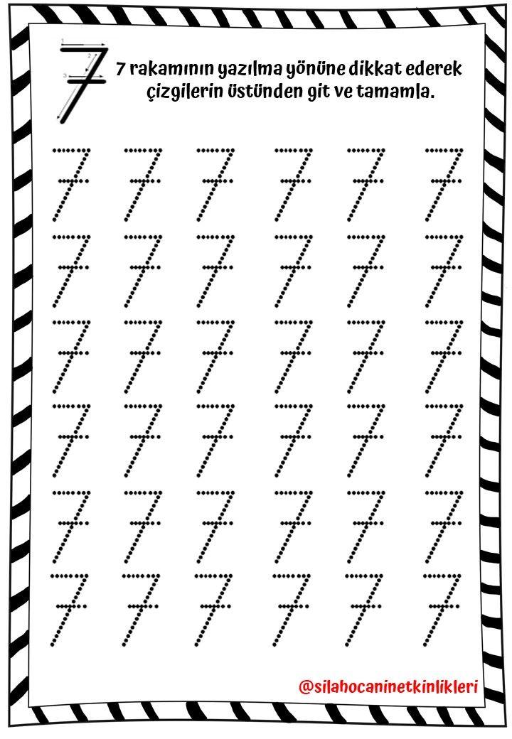 7 Sayisi Calisma Sayfasi 2 Okul Oncesi Calisma Cizelgeleri Alfabe Kartlari Anaokulu Matematigi