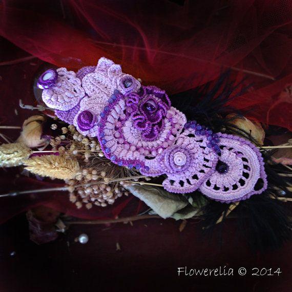 Purple crochet cuff bracelet, Handmade jewelry, Freeform crochet bracelet, OOAK romantic crochet jewelry