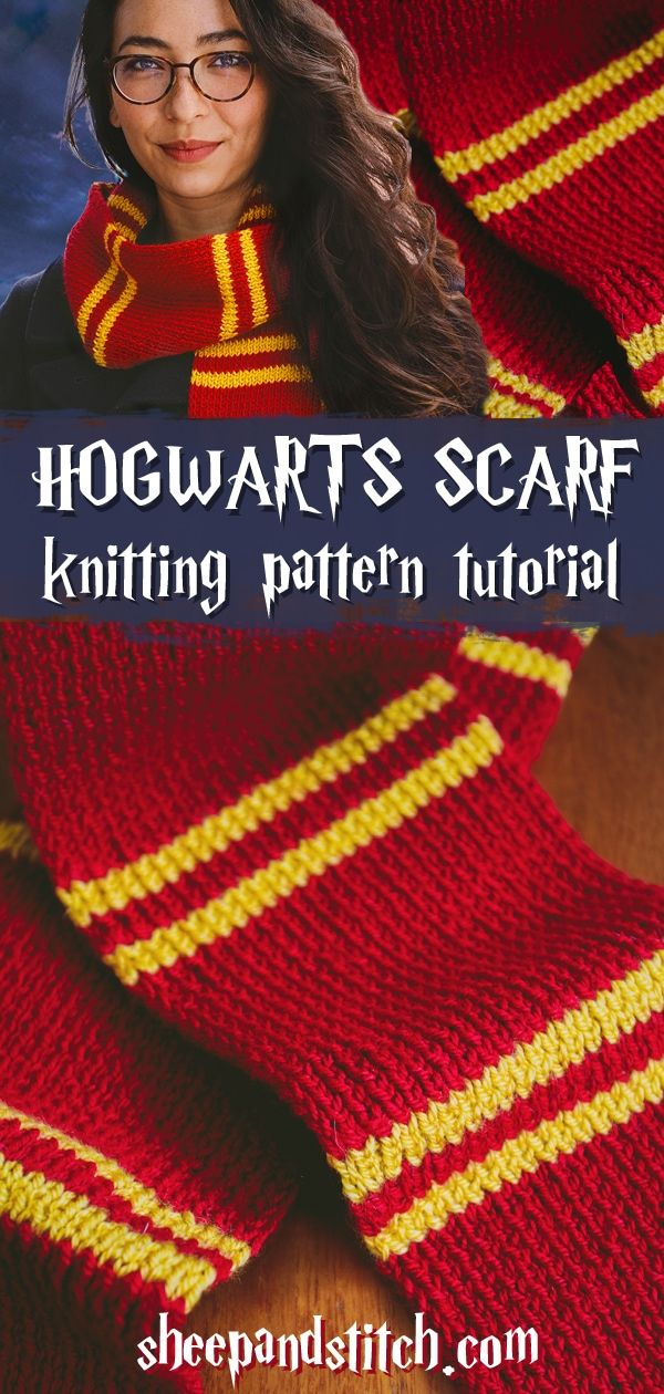 This Harry Potter Scarf Knitting Pattern is great for beginner knitters. Use the colors from your favourite Hogwarts House and knit away! This Hogwarts scarf comes together in two shakes of a newt's tail! #sheepandstitch #harrypotter #knits #knittingpatterns #knitting