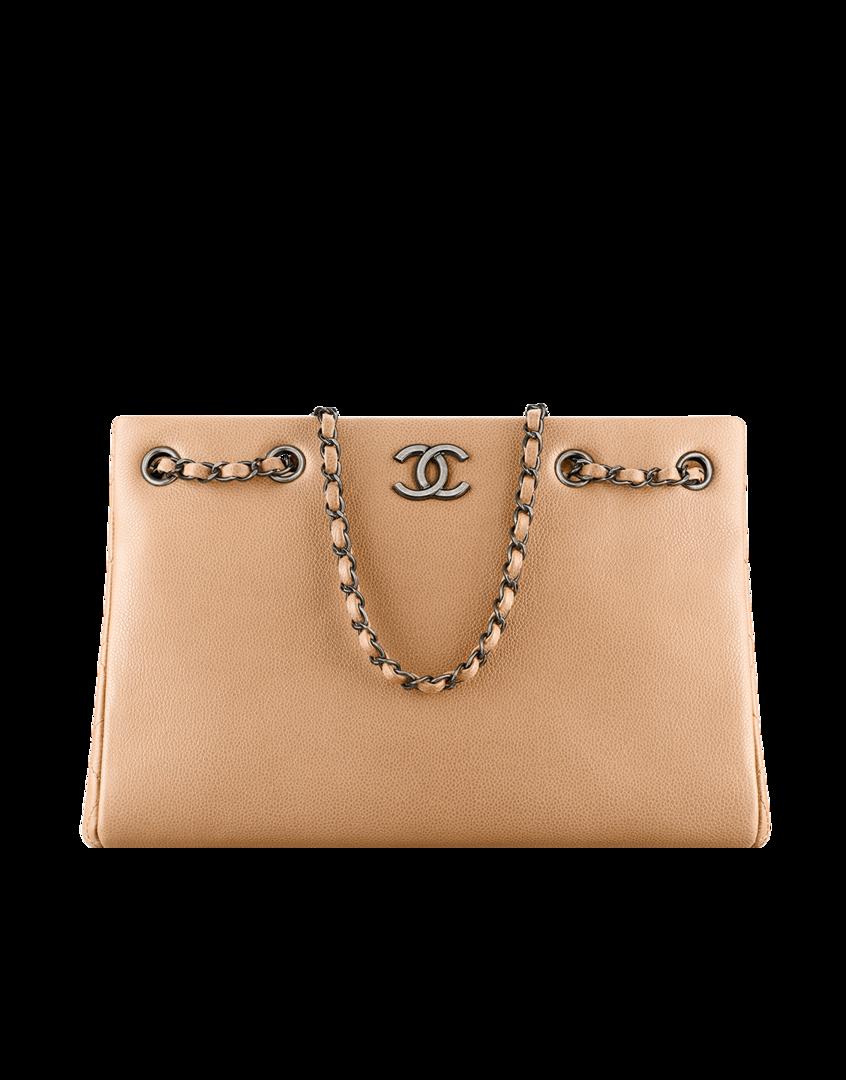 71ab0ea392efa9 Large shopping bag, metallic grained calfskin-beige - CHANEL Loving nudes  this spring!